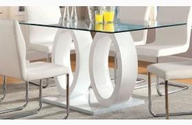 Lodia I White Glass Top Rectangular Pedestal Dining Table