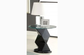 Halawa V Black Round Glass End Table