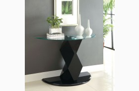 Halawa V Black Half-Oval Glass Sofa Table