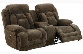 Grenville Brown Power Reclining Console Loveseat