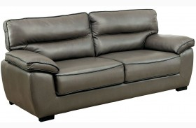 Lennox Gray Shined Faux Leather Sofa
