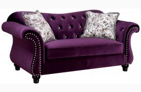 Jolanda Purple Flannelette Fabric Loveseat