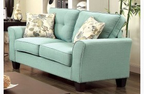 Claire Blue Fabric Loveseat