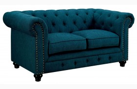 Stanford Dark Teal Fabric Loveseat