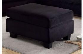 Lomma Black Flannelette Fabric Ottoman