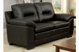 Parma Black Leatherette Loveseat