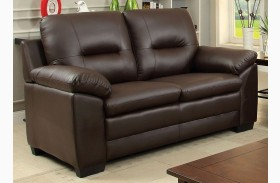 Parma Brown Leatherette Loveseat