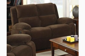 Haven Dark Brown Flannelette Reclining Loveseat