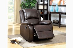Oxford Rustic Dark Brown Leatherette Recliner