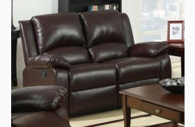 Oxford Rustic Dark Brown Leatherette Reclining Lovseat