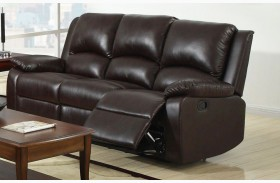 Oxford Rustic Dark Brown Leatherette Reclining Sofa