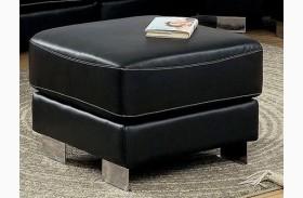 Garzon Black Bonded Leather Ottoman