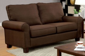 Hensel Brown Flax Fabric Loveseat