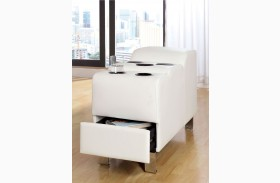 Kemina White Bonded Leather Match Speaker Console