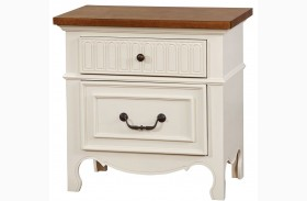 Galesburg White and Oak Nightstand