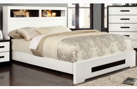 Rutger White and Black Full Headboard Storage Bed