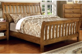Conrad Rustic Oak Queen Sleigh Bed Paneled Headboard & Footboard