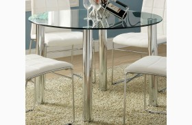 Kona I Glass Top Round Leg Dining Table