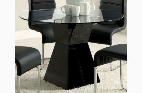Mauna Black Glass Top Round Pedestal Dining Table