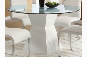 Mauna White Glass Top Round Dining Table