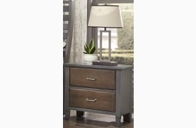 Commentary Steel And Oak 2 Drawer Nightstand With Charging Station