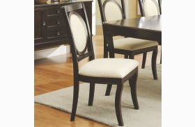 Crest Hill Cherry Brown Upholstered Dining Chair Set of 2