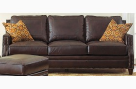 Caldwell Leather Sofa with 2 Accent Pillows
