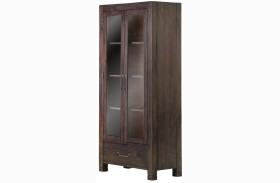 Pine Hill Rustic Pine Wood Curio Cabinet