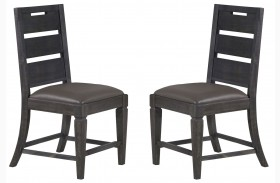 Abington Weathered Charcoal Upholstered Side Chair Set of 2