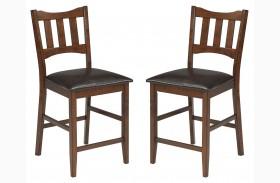 Renaburg Dark Brown Upholstered Counter Stool Set Of 2