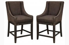 Moriann Dark Brown Upholstered Barstool Set of 2