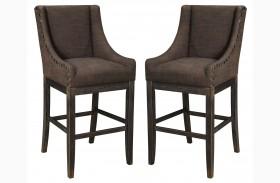 Moriann Dark Brown Tall Upholstered Barstool Set of 2