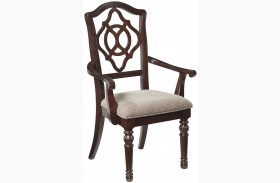 Leahlyn Brown Dining Upholstered Arm Chair Set of 2