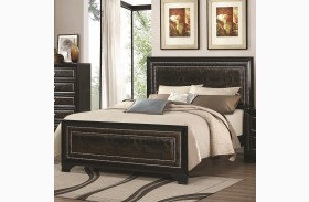 Delano Black Queen Upholstered Panel Bed