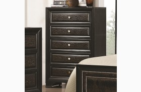Delano Black 5 Drawer Upholstered Chest