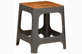 Brown Wood & Iron Square Stool
