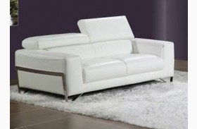 Flynt White Leather Loveseat