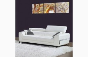 Flynt White Leather Sofa