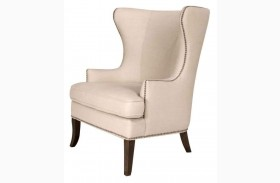 Grant Oatmeal Linen Espresso Wing Chair