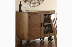 Hailee Antique Oak Server with casters