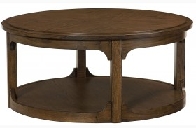 Facet Smoky Brown Oak Round Cocktail Table