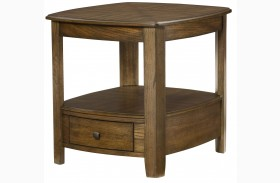 Primo Warm Medium Brown Rectangular Drawer End Table