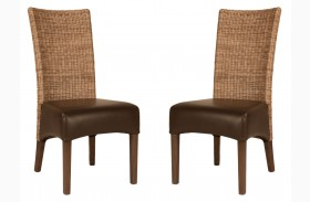 Hampton Havana Bonded Leather Dining Chair Set of 2