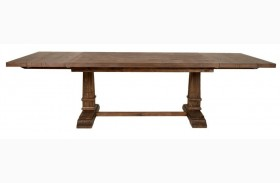 Hudson Rustic Java Rectangular Extendable Trestle Dining Table