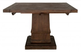 Hudson Rustic Java Square Extendable Pedestal Dining Table