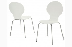1048 White Bentwood / Chrome Metal Dining Chairs Set of 4