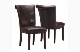1665BR Dark Brown Side Chair Set of 2