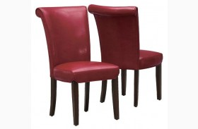 1667BY Burgundy Side Chair Set of 2