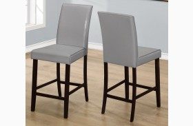 Gray Leather Counter Height Dining Chair Set of 2