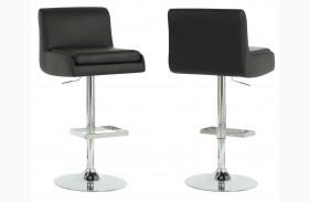2316 Black / Chrome Metal Hydraulic Lift Barstool Set of 2
